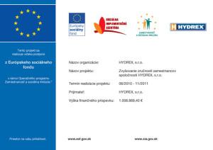 Zvyšovanie zručností zamestnancov spoločnosti HYDREX, s.r.o.